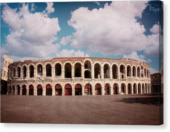 The Amphitheatre Canvas Print - Arena Of Verona Italy  by Carol Japp
