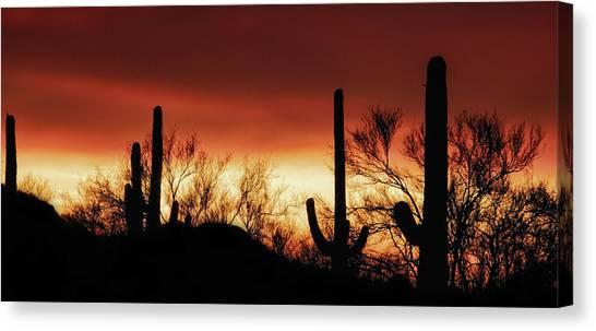 Canvas Print featuring the photograph Arizona Monsoon Sunset 2019 by Elaine Malott