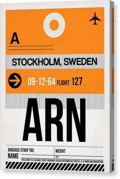 Sweden Canvas Print - Arn Stockholm Luggage Tag I by Naxart Studio