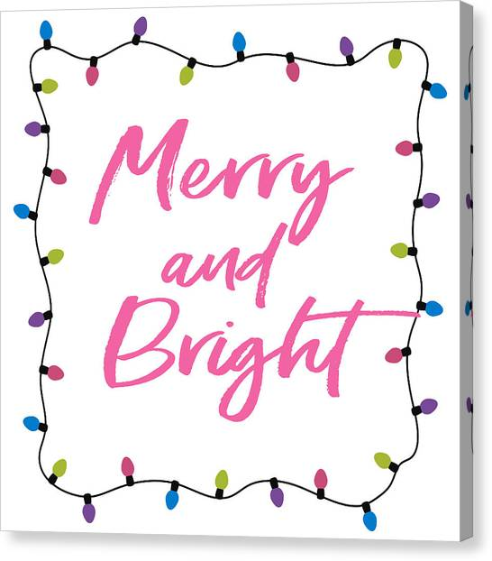 Black And White Art Canvas Print - Merry And Bright -art By Linda Woods by Linda Woods
