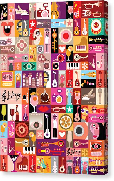 Background Canvas Print - Art Collage, Musical Vector by Danjazzia