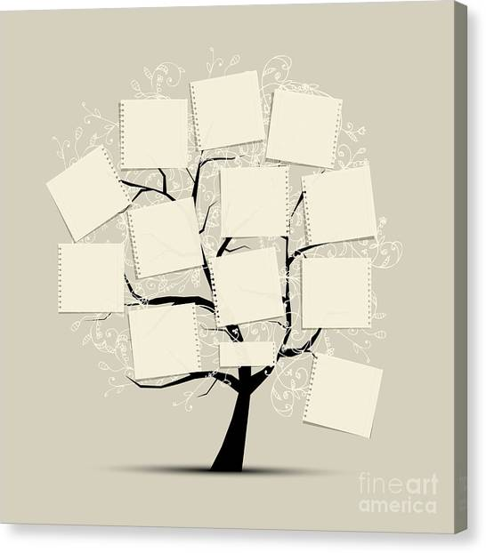 Sheet Canvas Print - Art Tree With Papers For Your Text by Kudryashka