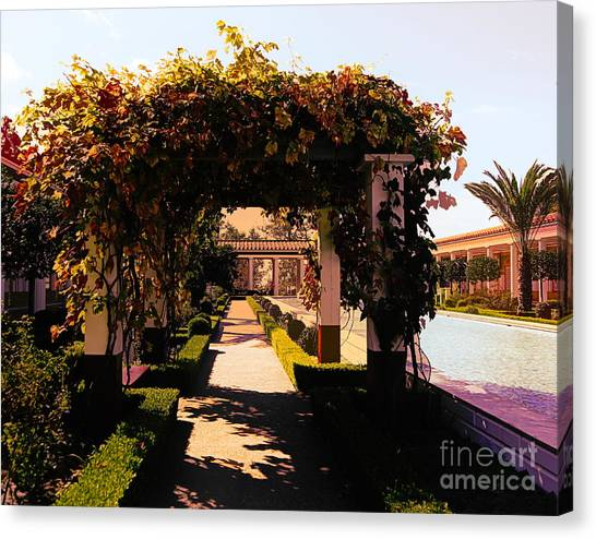 J Paul Getty Canvas Print - Artistic Courtyard Getty Villa  by Chuck Kuhn