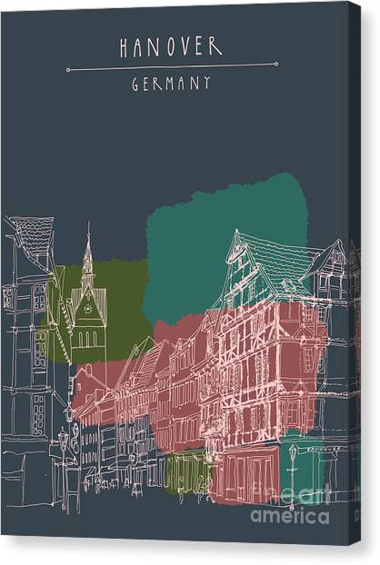Urban Life Canvas Print - Artistic Illustration Of Old Center In by Babayuka