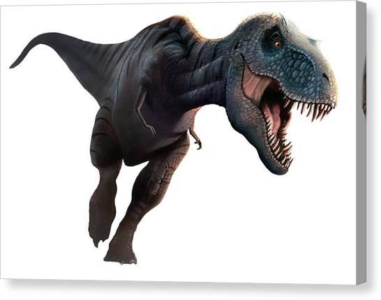 Artwork Of A Tyrannosaurus Rex Running Canvas Print by Mark Garlick