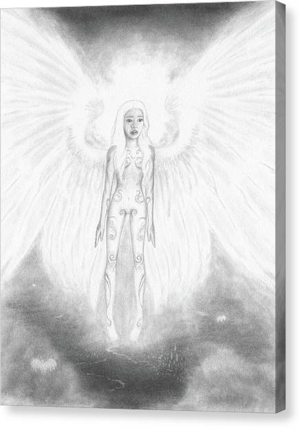As An Angel She Realized Why - Artwork Canvas Print