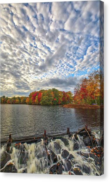 Canvas Print featuring the photograph Ashland Mill Pond Dam by Juergen Roth