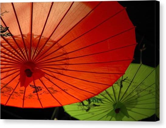 Asian Parasols Canvas Print by Imagesbytrista