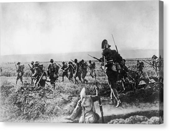 Assault On Cantigny Canvas Print by Hulton Archive