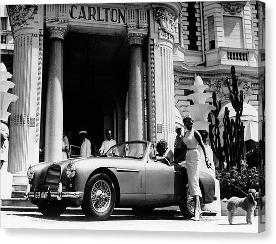Aston Martin Db2-4 Outside The Hotel Canvas Print