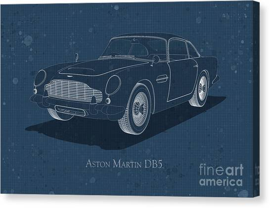 Aston Martin Db5 - Front View - Stained Blueprint Canvas Print