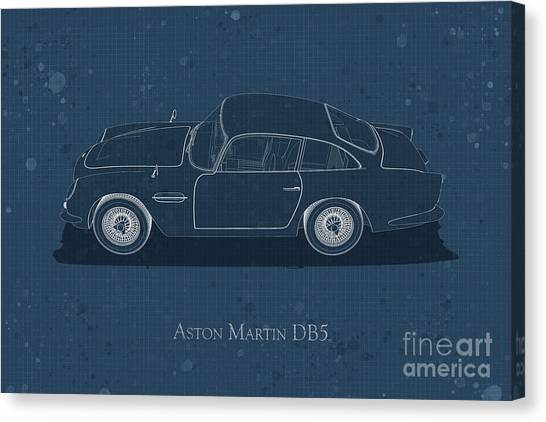 Aston Martin Db5 - Side View - Stained Blueprint Canvas Print