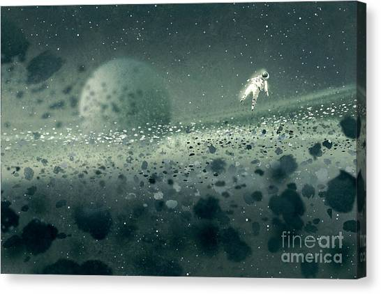 Atmosphere Canvas Print - Astronaut Floating In Asteroid by Tithi Luadthong