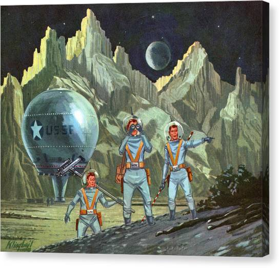 Astronauts Exploring Planet Canvas Print