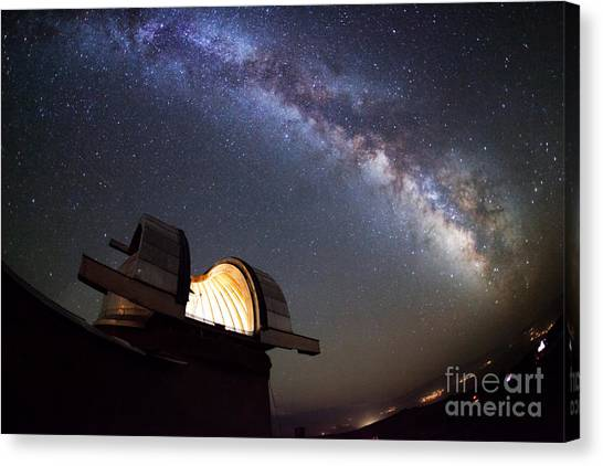 Solar System Canvas Print - Astronomical Observatory Under The Stars by Smilyk Pavel