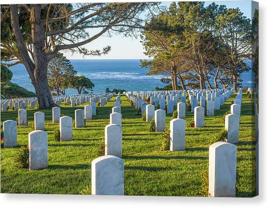 Fort Rosecrans National Cemetery Canvas Print - At Rest By The Sea by Joseph S Giacalone