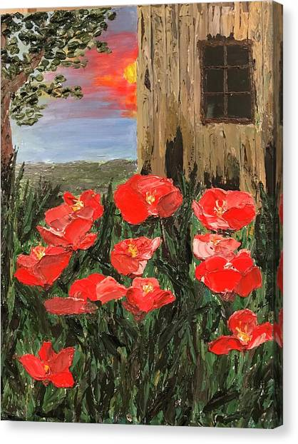 At Sunset By The Old Barn Canvas Print