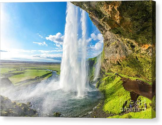 Powerful Canvas Print - At The Back Of Seljalandsfoss In Iceland by Cheng Yuan