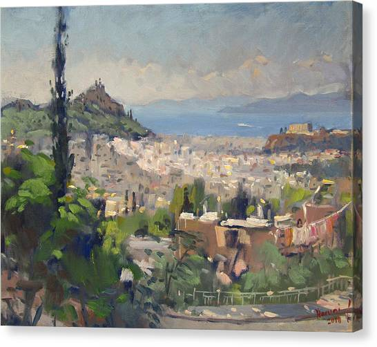 Athens Canvas Print - Athens View From Galatsi by Ylli Haruni