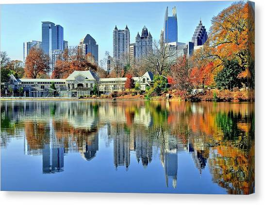 Chicago Skyline Art Canvas Print - Atlanta Reflected by Frozen in Time Fine Art Photography
