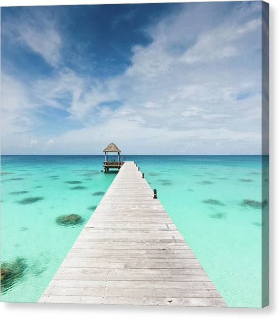 Atoll Jetty Wooden Pier Fakarava French Canvas Print by Mlenny