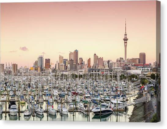 Auckland City And Harbour At Sunset Canvas Print by Matteo Colombo
