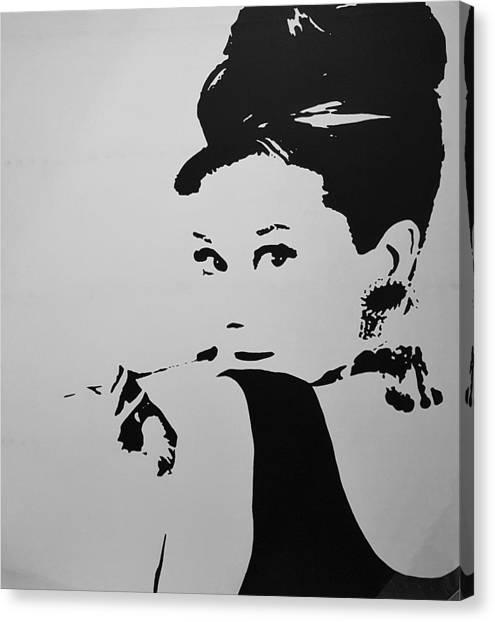 Audrey B W Canvas Print