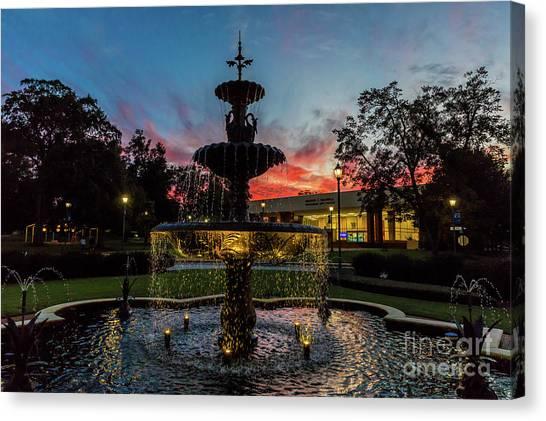 Augusta University Fountain Sunset Ga Canvas Print