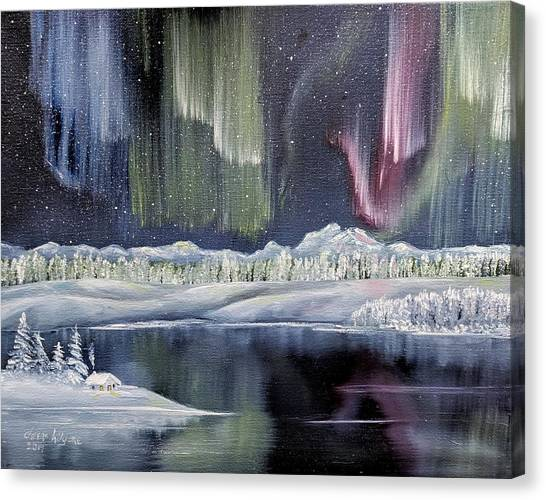 Canvas Print featuring the painting Aurora Borealis by Deleas Kilgore