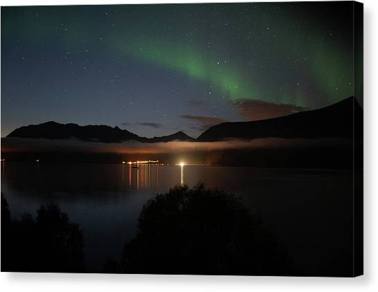 Aurora Northern Polar Light In Night Sky Over Northern Norway Canvas Print