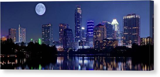Austin Texas Canvas Print - Austin At Lady Bird Lake With Moon by Frozen in Time Fine Art Photography