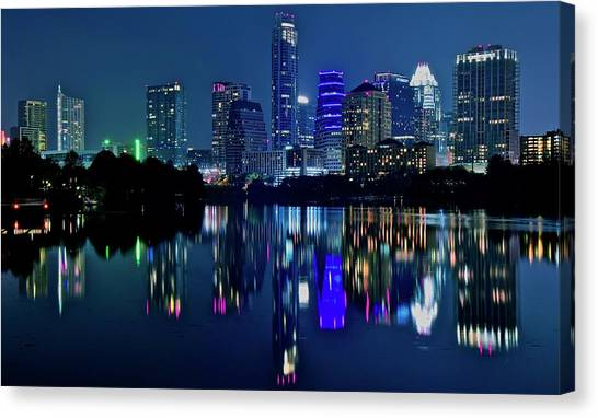 Austin Texas Canvas Print - Austin Night Reflection by Frozen in Time Fine Art Photography
