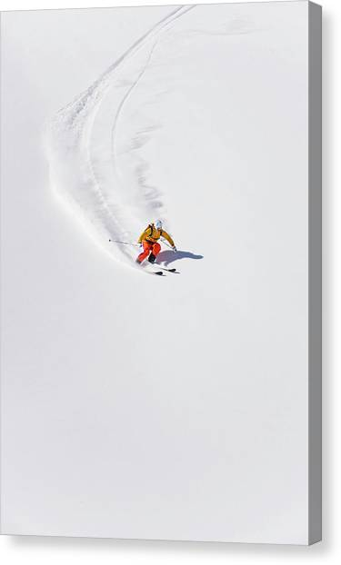 Austria, Young Woman Doing Alpine Skiing Canvas Print by Westend61