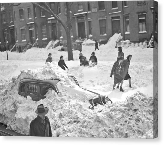 Buried Canvas Print - Auto Buried In Snow  Ca  1939 by Celestial Images