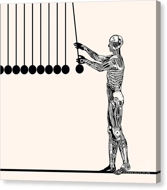 Balls Canvas Print - Automaton Playing With Perpetuum Mobile by Ryger