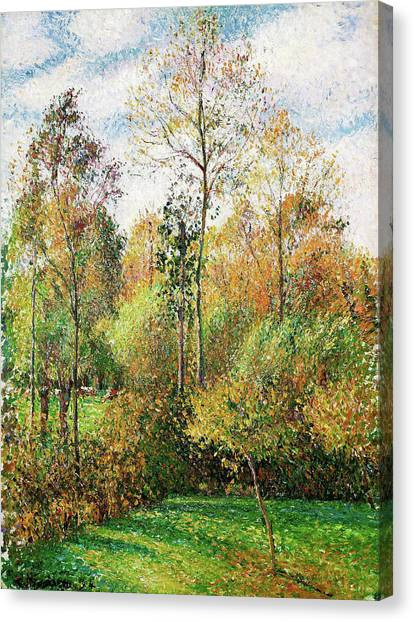 Camille Canvas Print - Automne, Peupliers, Eragny - Digital Remastered Edition by Camille Pissarro