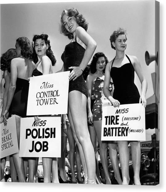 Placard Canvas Print - Automobile Beauties by Archive Photos