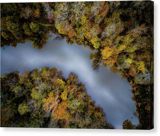 Autumn Arrives At The River Canvas Print