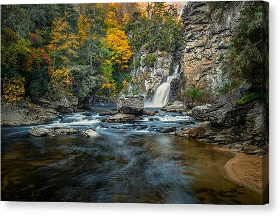 Autumn At Linville Falls - Linville Gorge Blue Ridge Parkway Canvas Print