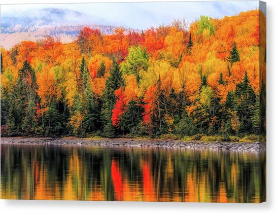 Canvas Print featuring the photograph Autumn Colors Reflection by Dan Sproul