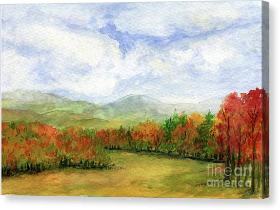 Autumn Day Watercolor Vermont Landscape Canvas Print