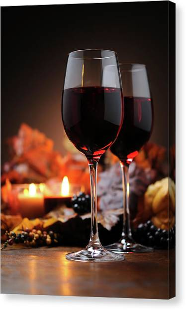Autumn Decoration With Wine And Candle Canvas Print