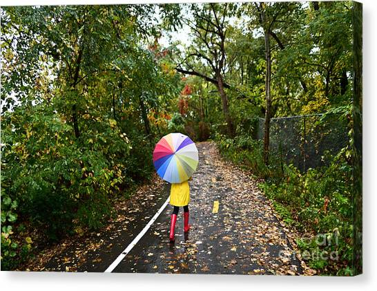Happiness Canvas Print - Autumn  Fall Concept - Woman Walking In by Maridav