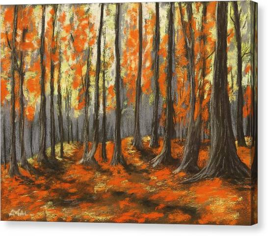 Canvas Print featuring the painting Autumn Forest by Anastasiya Malakhova