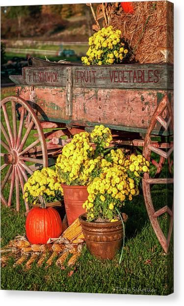 Indian Corn Canvas Print - Autumn Harvest Vintage Wagon by T-S Fine Art Landscape Photography