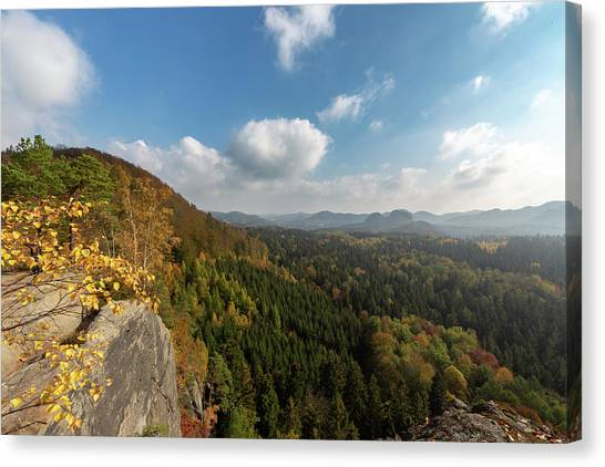 Canvas Print featuring the photograph Autumn In The Elbe Sandstone Mountains by Andreas Levi