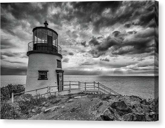 Canvas Print featuring the photograph Autumn Morning At Owls Head Black And White by Rick Berk
