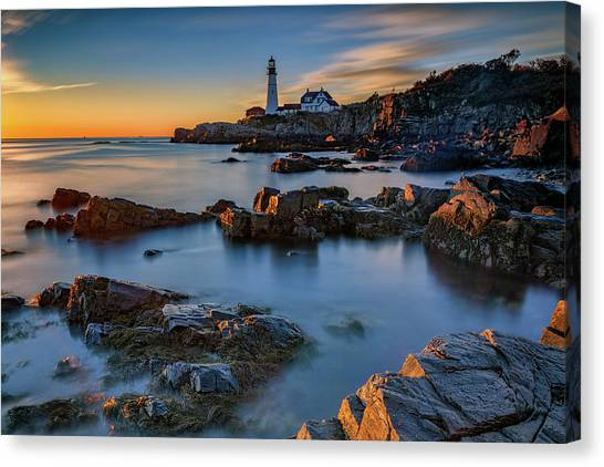 Canvas Print featuring the photograph Autumn Morning At Portland Head Lighthouse  by Rick Berk
