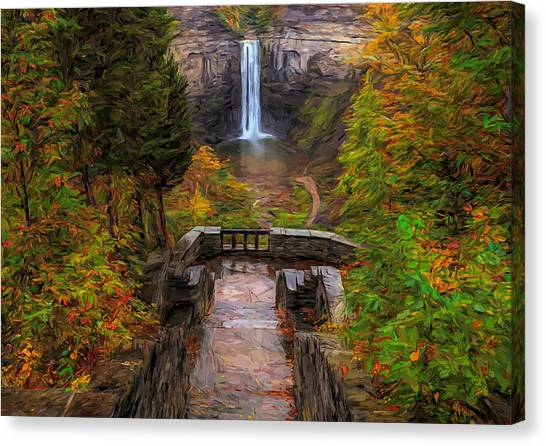 Canvas Print featuring the painting Autumn Morning At Taughannock Falls by Dan Sproul