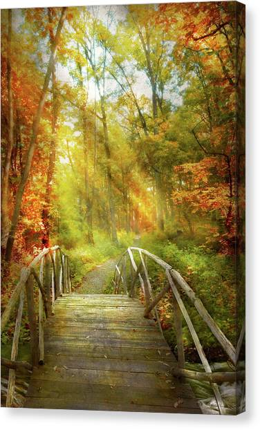 Canvas Print featuring the photograph Autumn - Nice Day For A Walk by Mike Savad